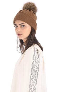Bonnet laine et renard camel