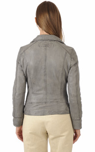 Blouson Cuir Style Perfecto Gris