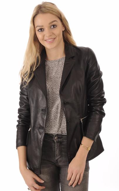 veste blazer cuir agneau noir femme rose garden la canadienne veste 3 4 cuir noir. Black Bedroom Furniture Sets. Home Design Ideas