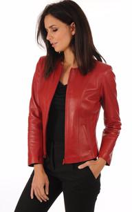 Blouson femme cuir rouge