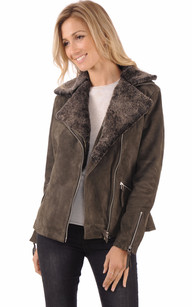 Blouson style Perfecto Cuir Velours