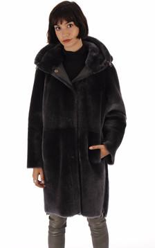 Manteau réservible peau lainée grise foncée1