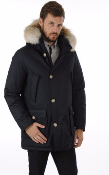 Parka Laminated Cotton Bleu Marine1