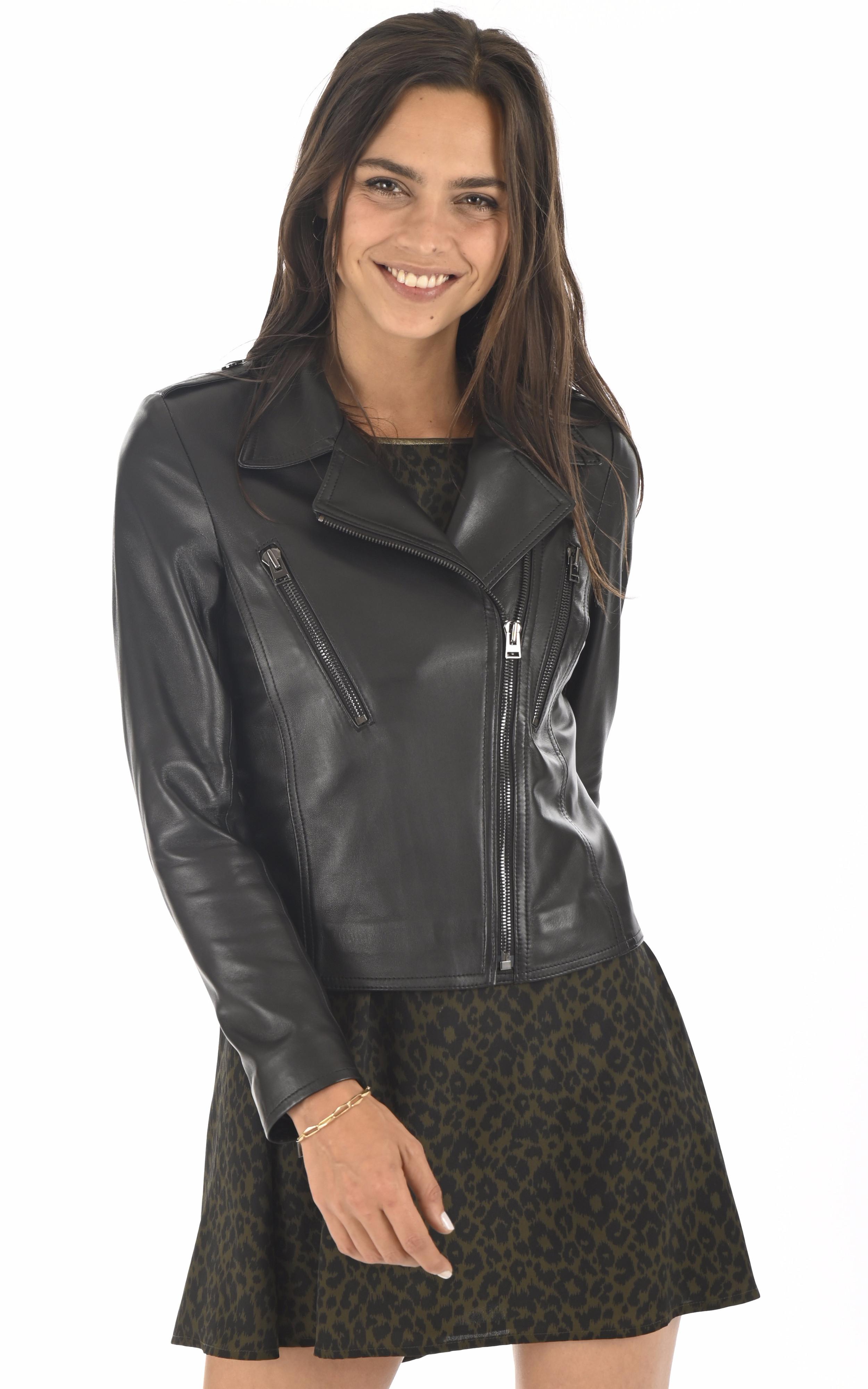 Blouson en cuir noir femme La Canadienne