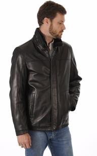 Veste Confortable Cuir Noir Homme1