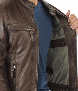 Blouson Casey Cuir Marron Oakwood