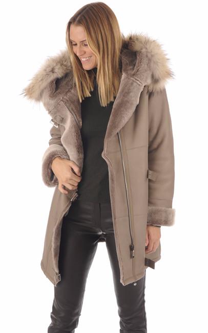 Manteau peau lainée Xenia taupe Anne Delaigle