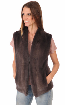 Gilet Vison Marron Femme1