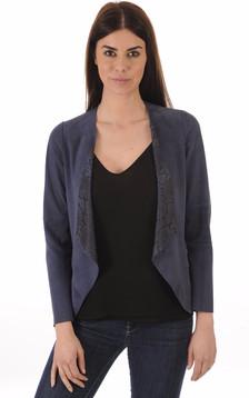 Veste Ouverte Cuir Velours Bleu