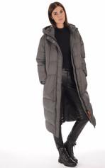 Doudoune longue Alix gris foncé femme