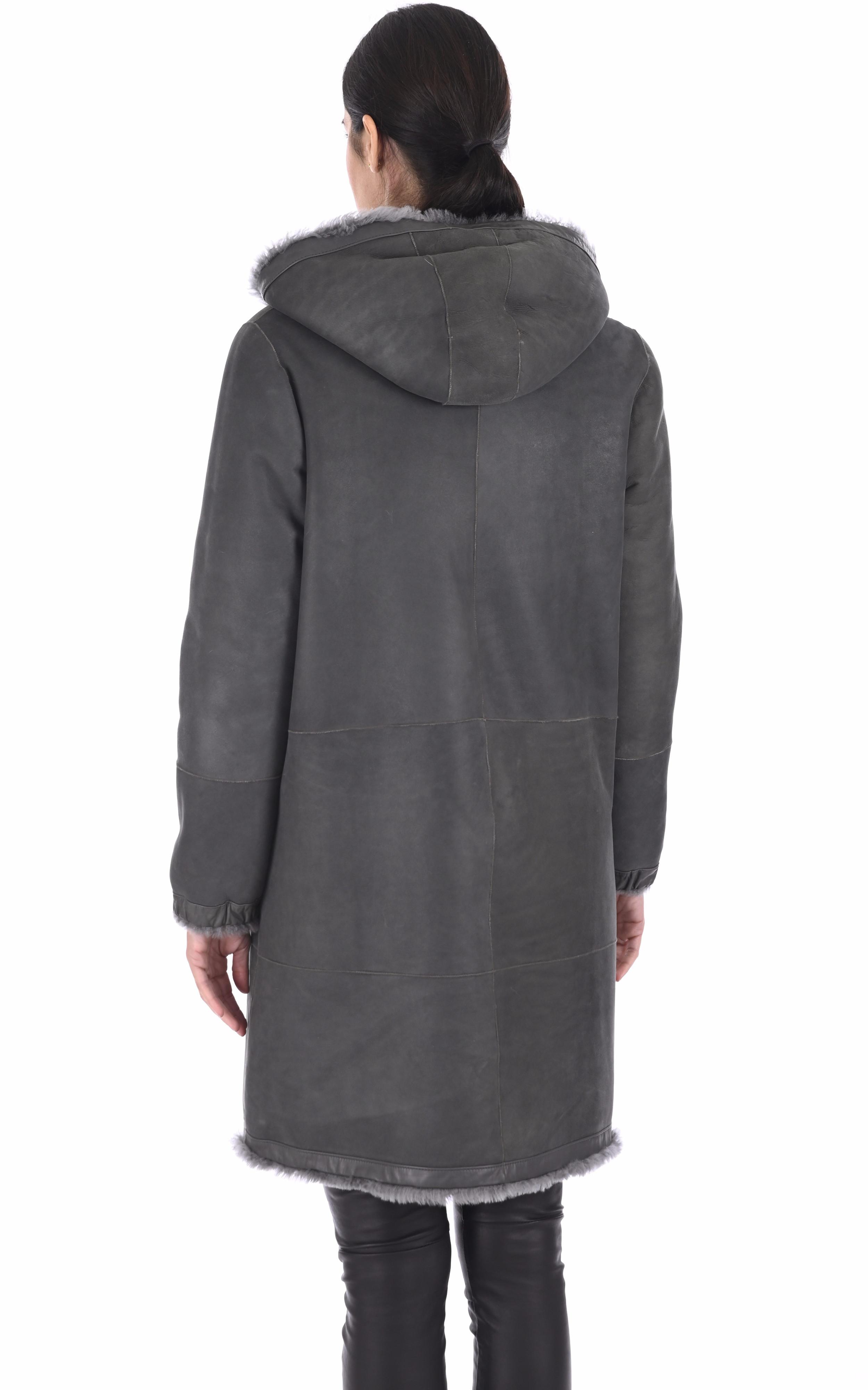 Manteau peau lainée réversible gris Anne Delaigle