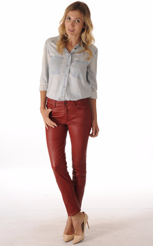 Pantalon Cuir Stretch Bordeaux