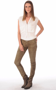 Pantalon Aspect Daim Femme
