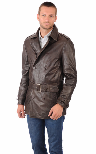 trench cuir marron homme monteregi la canadienne veste. Black Bedroom Furniture Sets. Home Design Ideas