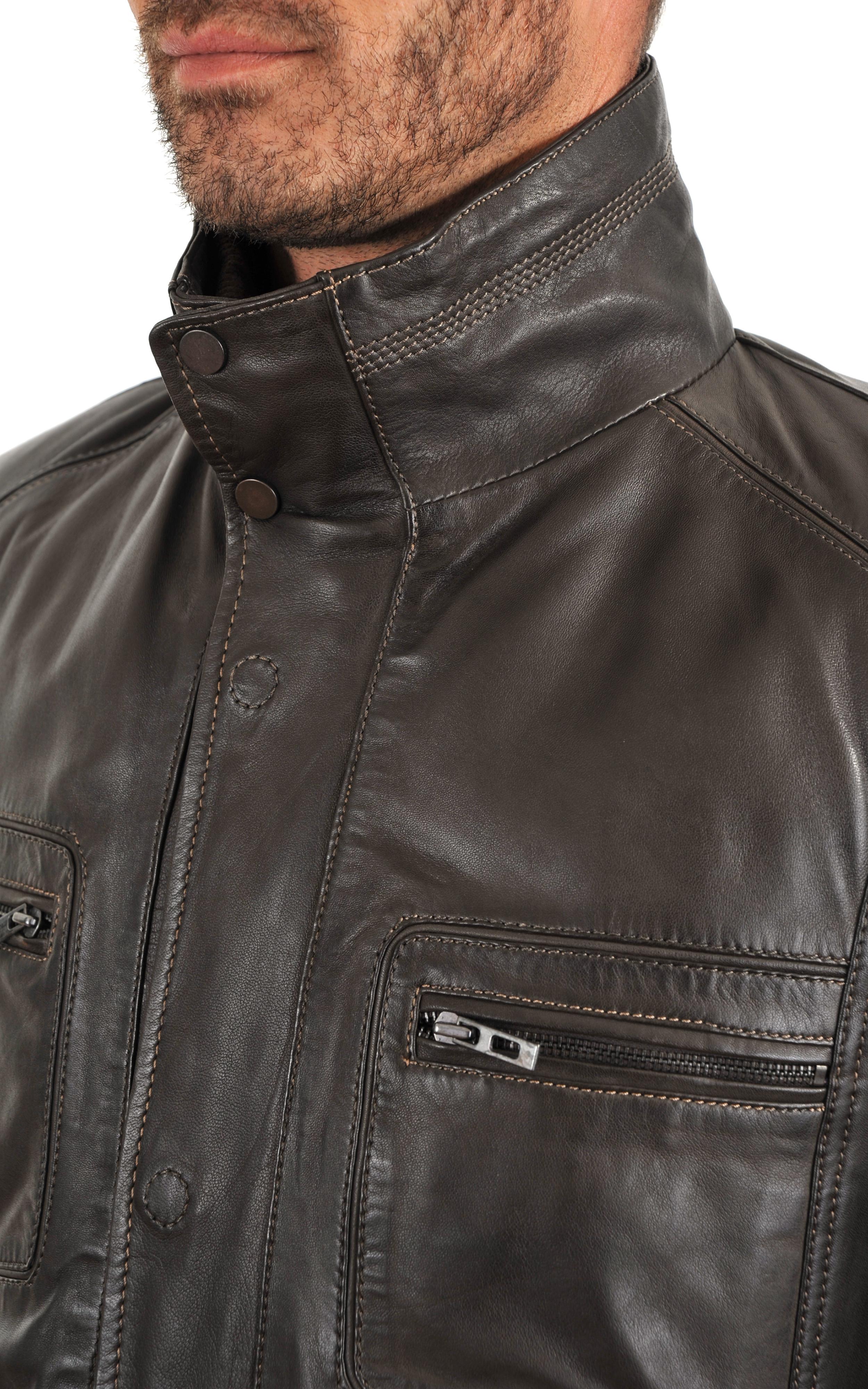 veste cuir homme bugatti la canadienne veste 3 4 cuir marron fonc. Black Bedroom Furniture Sets. Home Design Ideas