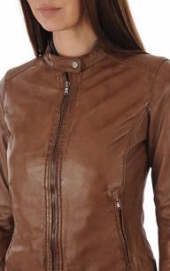 Blouson Cuir Femme Cognac Oakwood