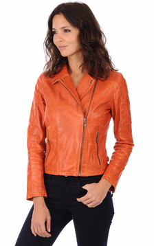Blouson Cuir Femme Orange1