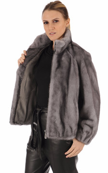 Blouson vison gris