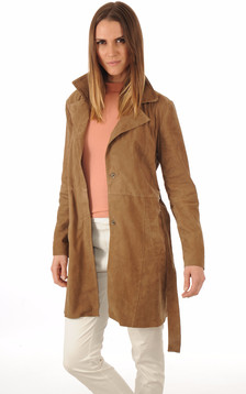 Trench Cuir Velours Taupe1