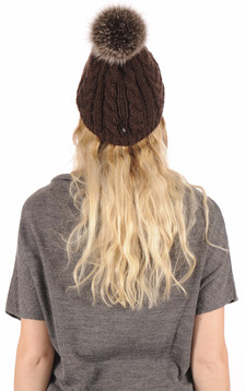 Bonnet laine fourrure marron