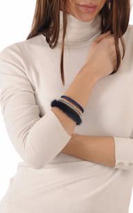 Bracelet Fantaisie Cuir & Vison Bleu1