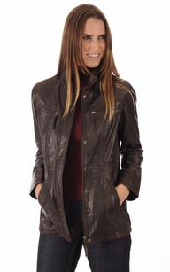 Veste cuir femme marron