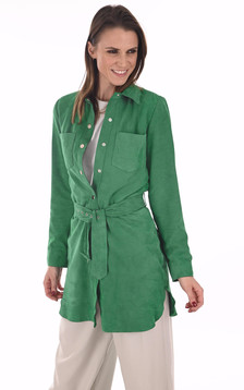 Robe chemise velours émeraude