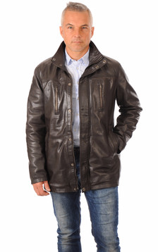 Veste 3/4 Cuir Chaud Marron