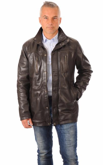 veste 3 4 cuir chaud marron smarty la canadienne veste. Black Bedroom Furniture Sets. Home Design Ideas