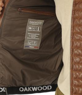 Doudoune fine cuir cognac homme Oakwood