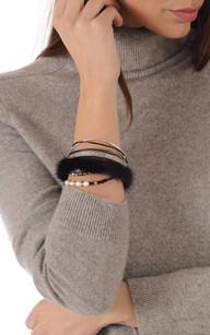 Bracelet Fantaisie Cuir & Vison Noir1