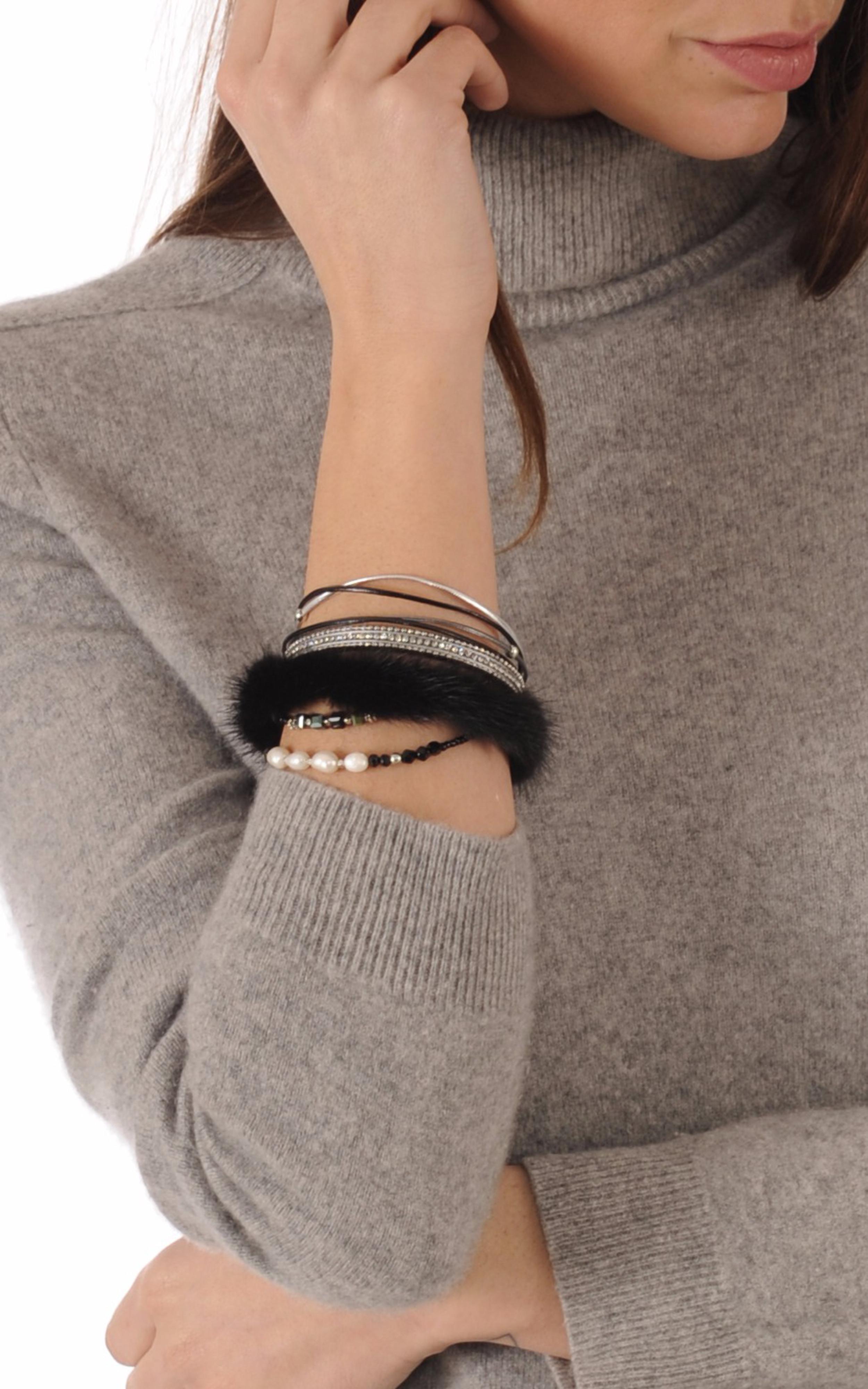 Bracelet Cuir & Vison Noir Tsanikidis