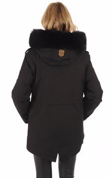 Parka Chara-X noire avec fourrure
