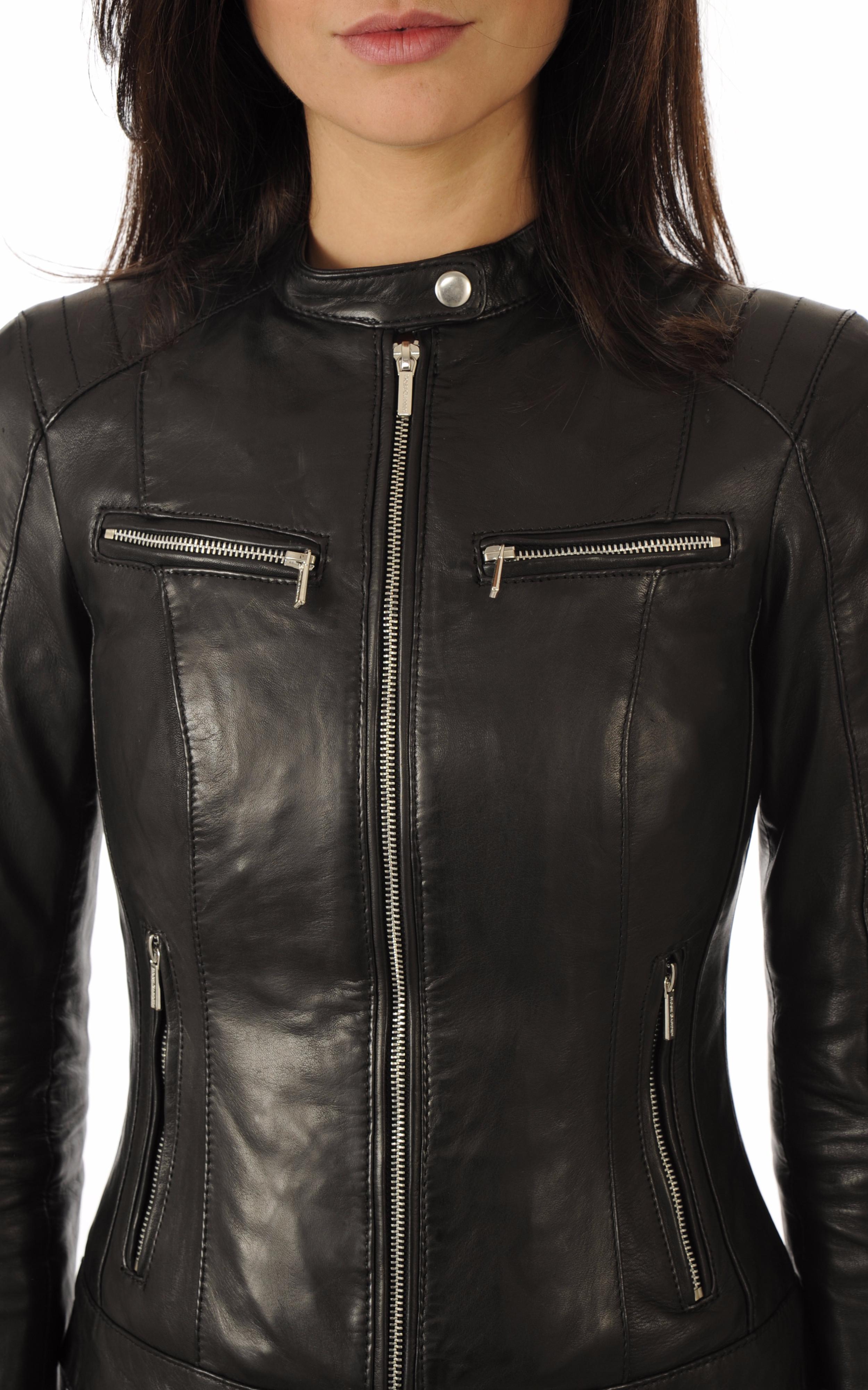 Blouson motard cuir noir Rose Garden