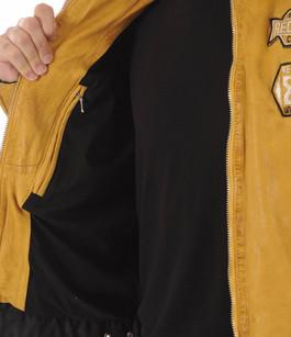 Blouson Resse Cuir Jaune Style Motard Redskins