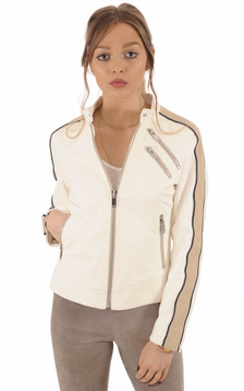 Blouson Motard Femme Cuir blanc1