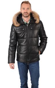 Manteau cuir et fourrure pour femme