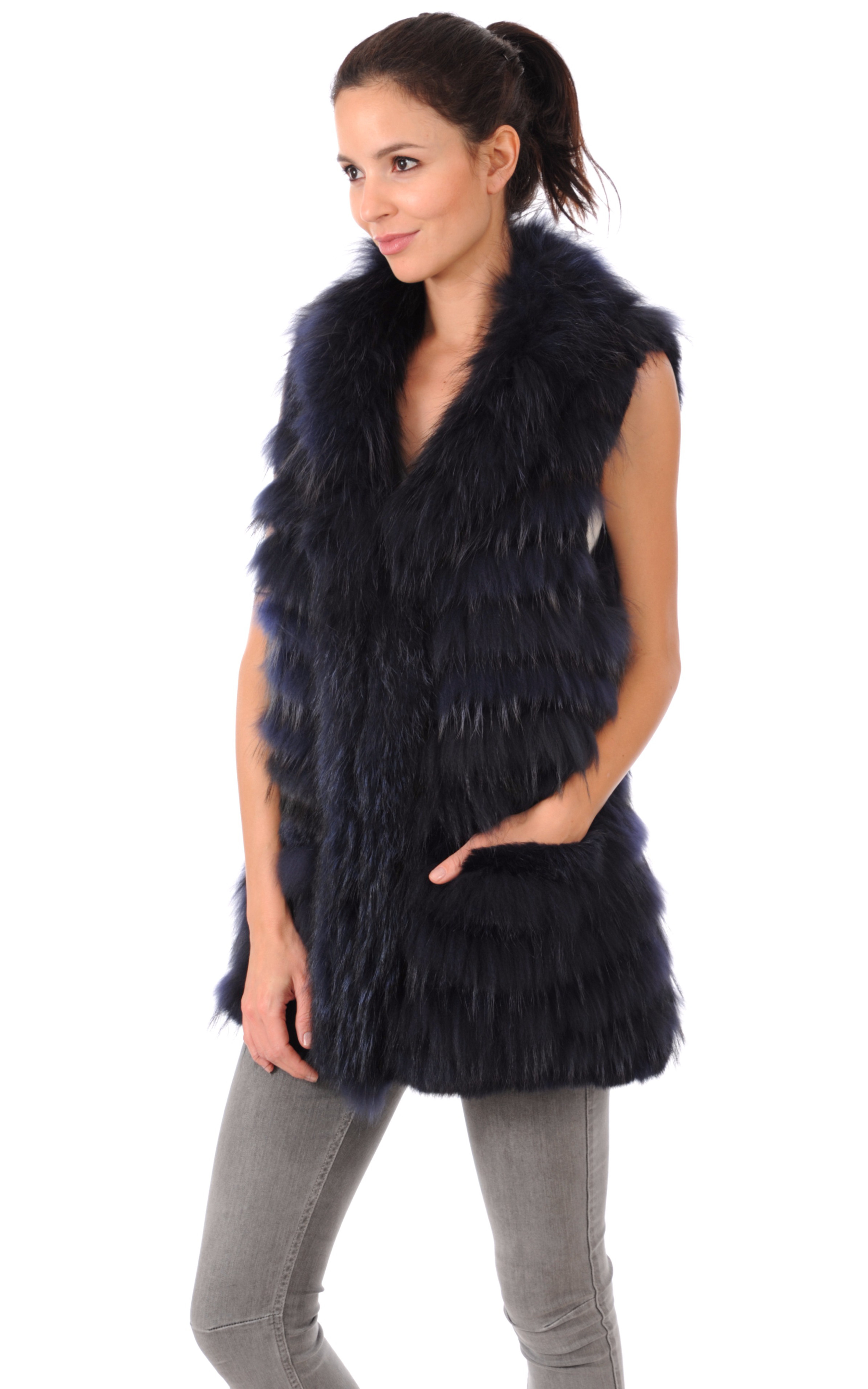 Gilet Fourrure Lapin et Raccoon Oakwood