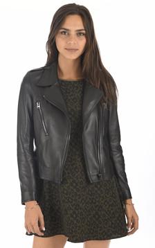 Blouson en cuir noir femme
