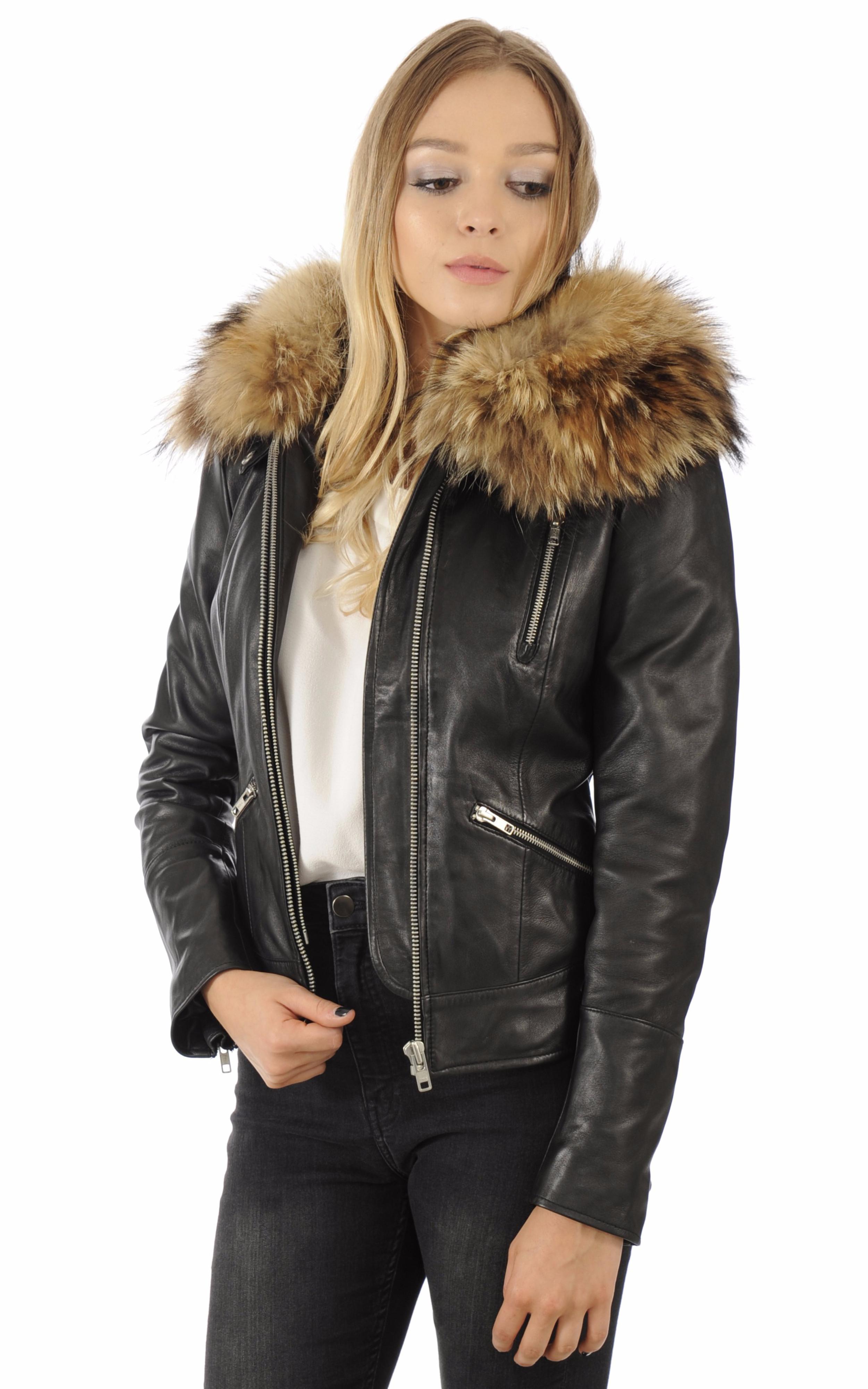 blouson cuir noir capuche fourrure serge pariente la canadienne blouson cuir noir. Black Bedroom Furniture Sets. Home Design Ideas