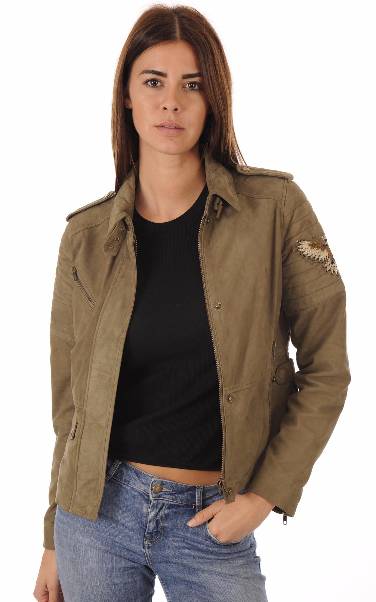 Blouson Cuir Velours Kaki Femme Aeronautica Militare