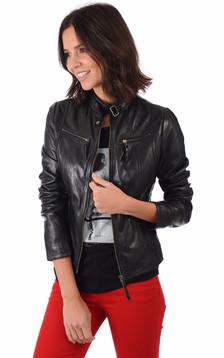 Blouson Cuir Femme Style Motard1