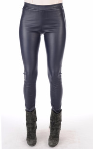 Legging en Cuir Stretch Bleu1