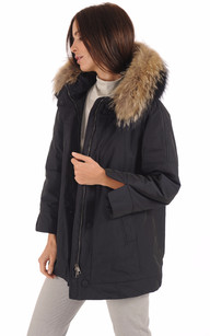 Parka Confortable Bleu Fourrure Bicolore