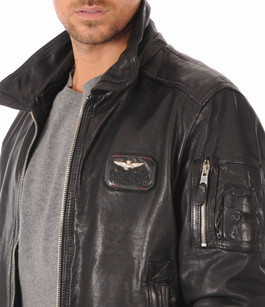 blouson aviateur cuir noir homme aeronautica militare la canadienne blouson cuir noir. Black Bedroom Furniture Sets. Home Design Ideas