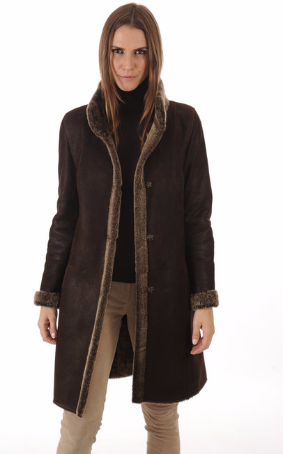 veste 3 4 peau lain e marron la canadienne la canadienne manteau 7 8 peau lain e marron. Black Bedroom Furniture Sets. Home Design Ideas