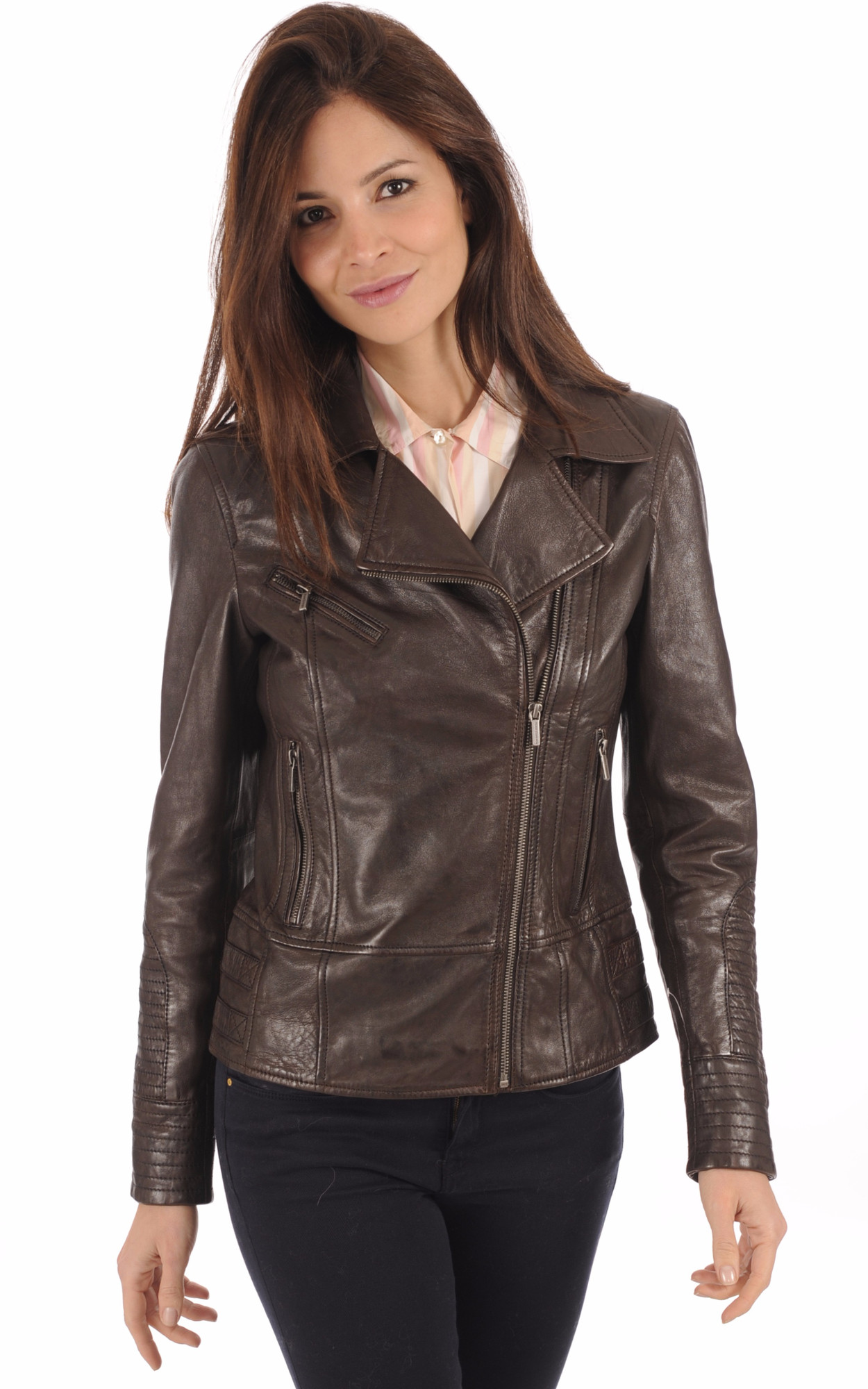 Blouson style Perfecto Juliette marron1