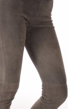 Legging cuir velours gris