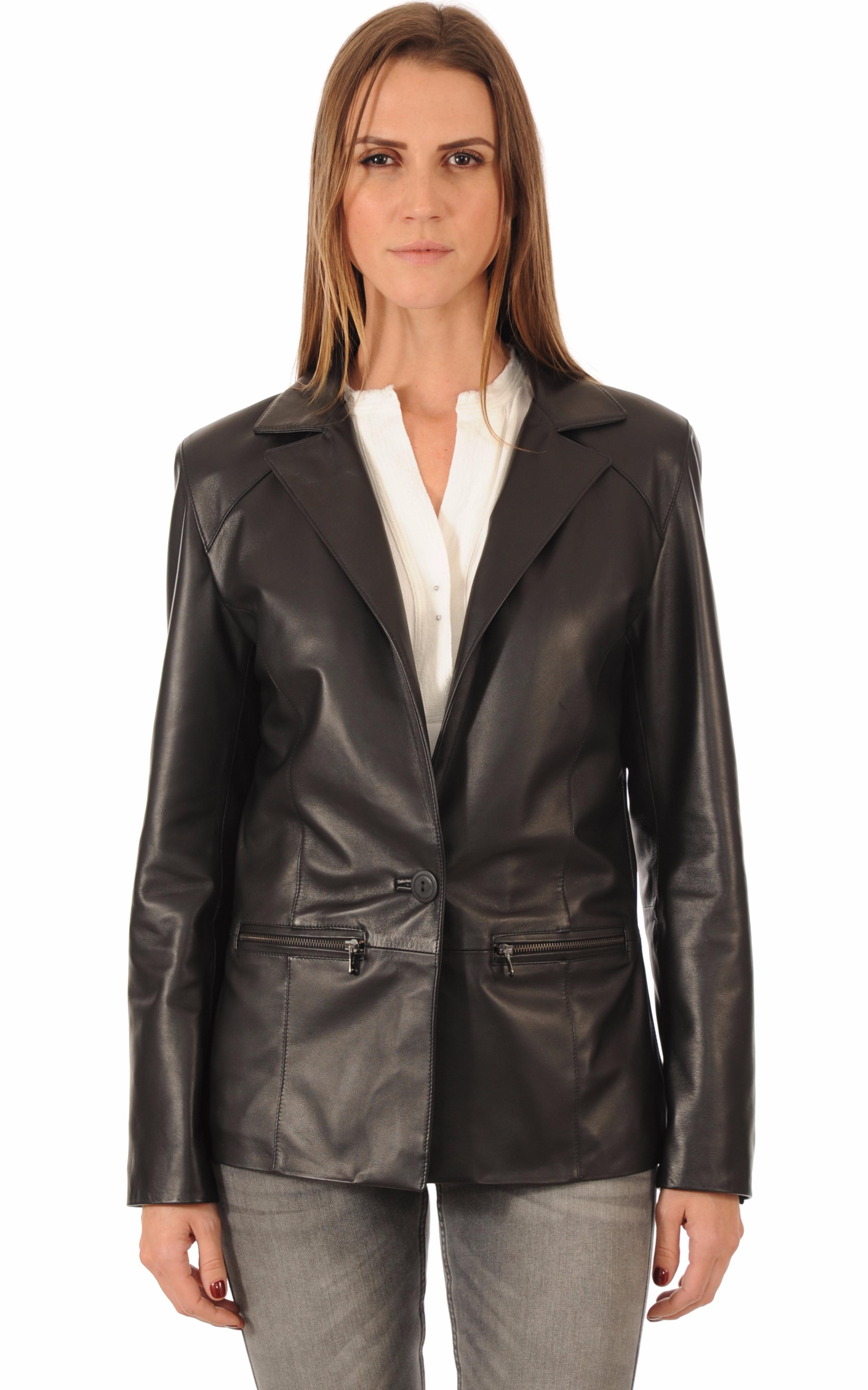 blazer cuir femme coupe confort la canadienne la canadienne veste 3 4 cuir noir. Black Bedroom Furniture Sets. Home Design Ideas