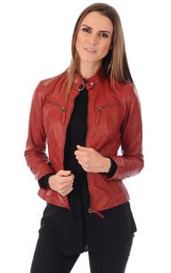 Petite veste cuir rouge